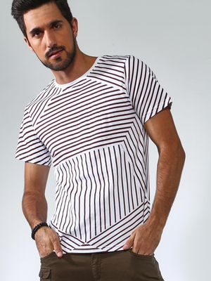 Blue Saint Multi Stripe Crew Neck T-Shirt