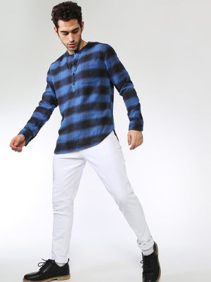 Blue Saint All Over Check Mandarin Collar Shirt