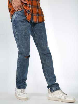 Blue Saint Stone Wash Ripped Knee Jeans