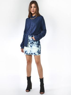 Blue Saint Dyed coloured Mini-Skirts