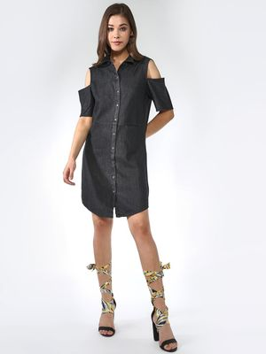 Blue Saint Cold Shoulder Shirt Dress