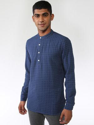 Blue Saint Check Print Grandad Collar Shirt