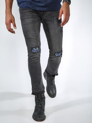 Blue Saint Light Wash Distressed Patch Jeans