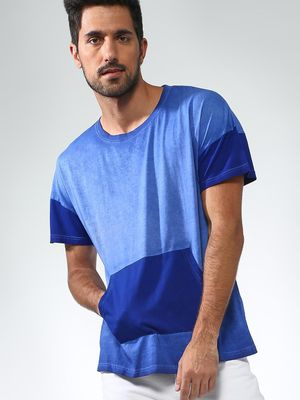 Blue Saint Tie-Dye Round Neck T-shirt