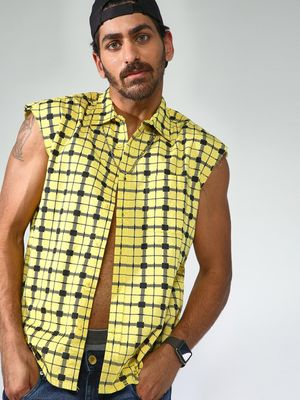 Blue Saint Sleeveless Checks Shirt