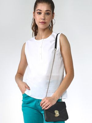 Blue Saint Half Placket Sleeveless Top