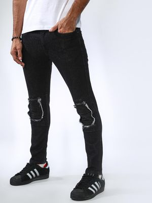 Sheltr Knee Patch Style Coal Slim Fit Jeans