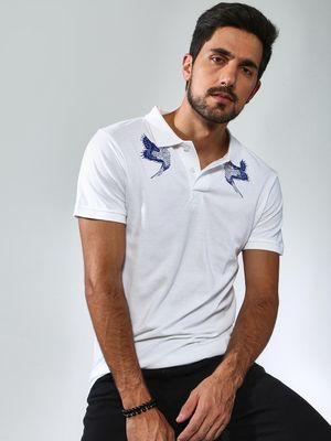 Sheltr Flying Bird Print Polo T-Shirt