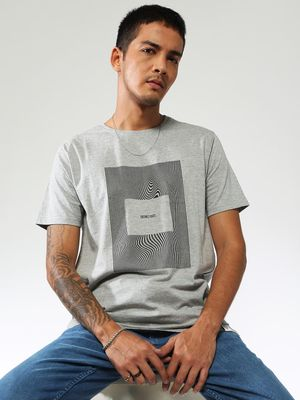 Sheltr Men's Grey Slim Fit T-shirt