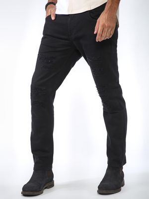 Sheltr Light Wash Distressed Slim Jeans