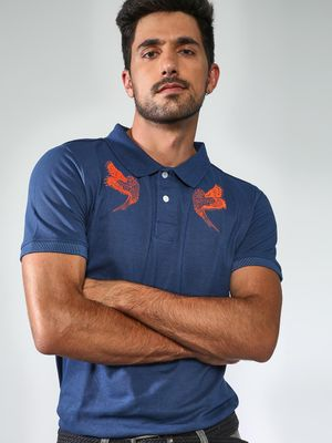 Sheltr Bird Print Polo T-Shirt