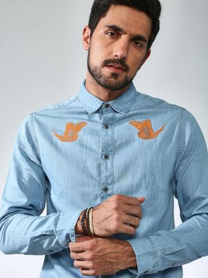 Sheltr Embroidered Flying Bird Slim Fit Shirt