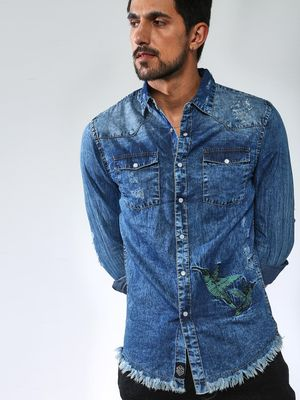 Sheltr Bird Print Denim Shirt