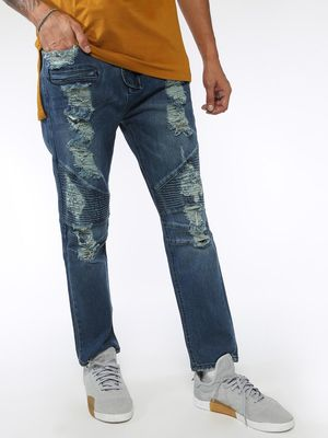 Sheltr Light Wash Distressed Slim Fit Jeans