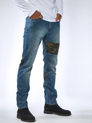 Sheltr Stone Wash Patch Slim Jeans
