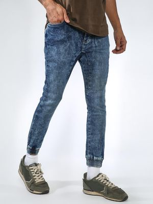 Sheltr Acid Wash Cuffed Hem Jeans