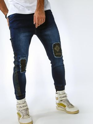 Sheltr Knee Patchwork Dark Wash Joggers