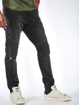 Sheltr Biker Panel Distressed Slim Jeans