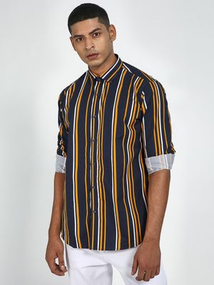 Green Hill All Over Vertical Stripe Slim Fit Shirt