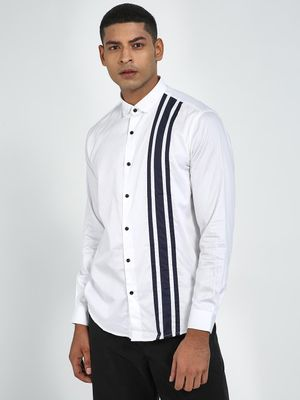 Green Hill Striped Slim Fit Casual Shirt