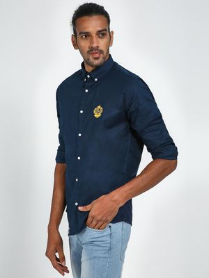 Green Hill Men's Blue Slim Fit Casual Shirt