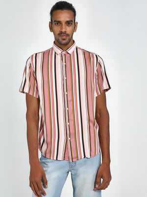 Green Hill Men's Multicolor Vertical Stripe Shirt