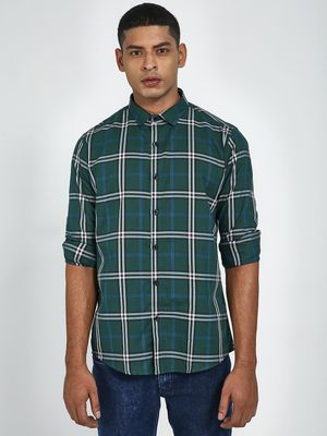 Green Hill All Over Check Print Causal Shirt