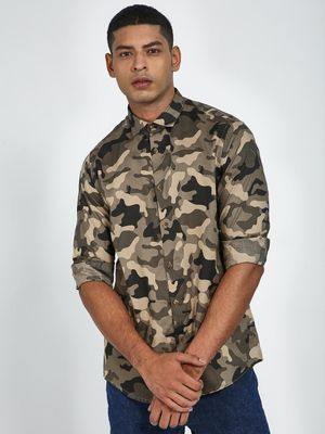 Green Hill Camo Print Slim Fit Shirt