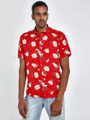 Green Hill Floral Print Casual Shirt