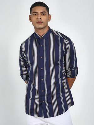 Green Hill All Over Vertical Stripe Regular Fit Shirt