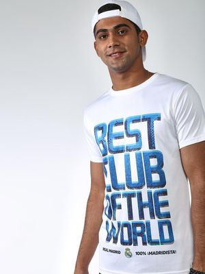 REAL MADRID Digital Slogan Print Crew Neck T-shirt