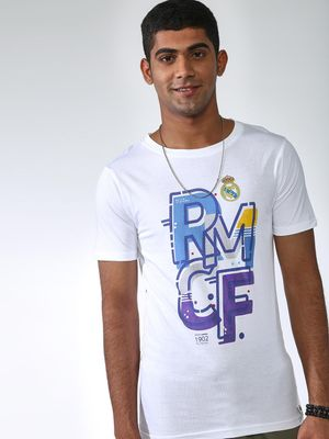 REAL MADRID Placement Print Crew Neck T-shirt