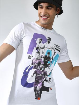 REAL MADRID Graphic Print Crew Neck T-shirt