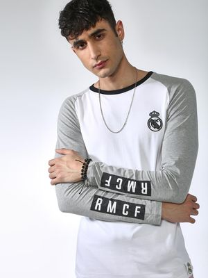 REAL MADRID Contrast Sleeve Crew Neck T-shirt