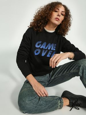 Blue Saint Text Placement Print Sweatshirt