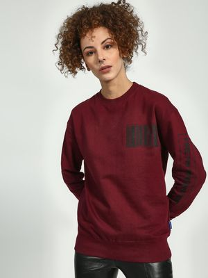 Blue Saint Code Bar Placement Print Sweatshirt