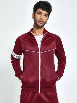 KOOVS Sleeve Text Tape Track Jacket