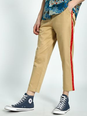 Spring Break Contrast Side Tape Cropped Trousers