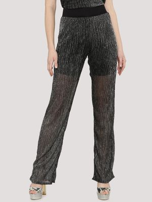 KOOVS Lurex Plisse Wide Leg Trousers