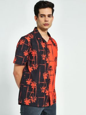 KOOVS Palm Print Cuban Shirt
