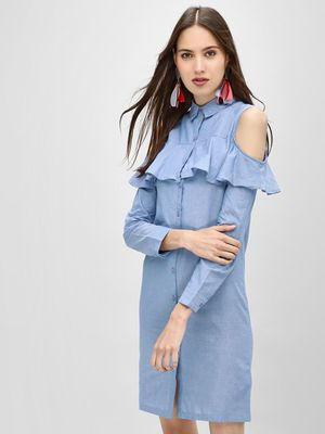 KOOVS Frill Cold Shoulder Shirt Dress