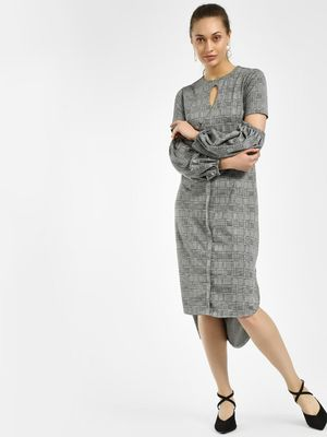KOOVS Plaid Check Cut-Out Asymmetric Dress
