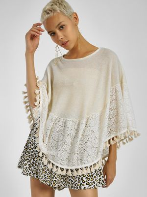 Privy League Lace Pom-Pom Hem Cape Top