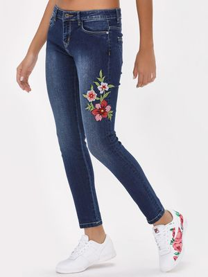 K Denim KOOVS Blue Wash Floral Embroidered Jeans