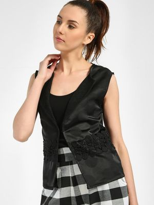 Privy League Jacquard Lace Detail Sleeveless Jacket