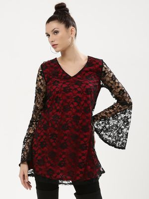KOOVS Flute Sleeve Lace Overlay Dress