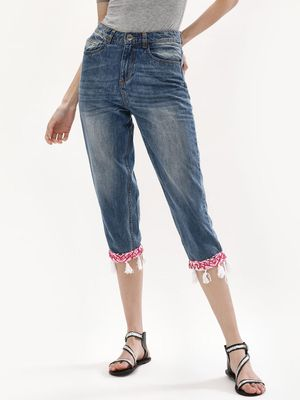 K Denim KOOVS Tassel Embroidered Cropped Slim Jeans
