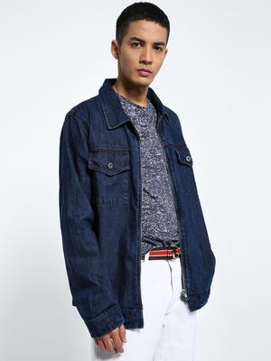 CHELSEA KING Zip-Up Utility Denim Shacket