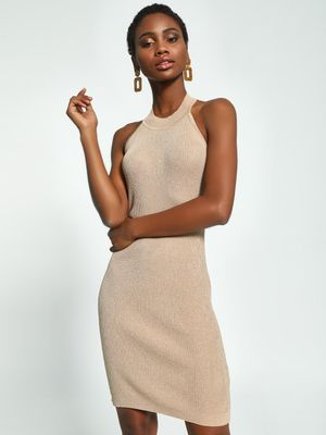 KOOVS Halter Neck Shimmer Bodycon Dress