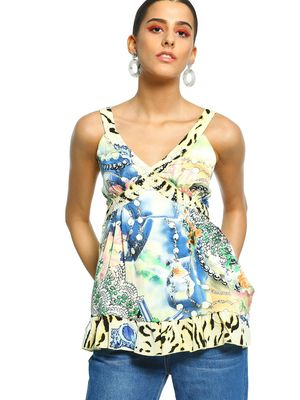 101 IDEES Mixed Animal Floral Print Embellished Blouse